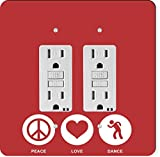 Rikki Knight 42443 Gfidouble Peace Love Dance Red Color Design Light Switch Plate