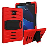 FastSun Heavy Duty Hybrid Military Armor Case Cover for Samsung Galaxy Tab E 9.6 SM-T560 + Screen Protector (Red-Black)