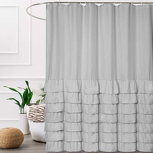Volens Gray/Grey Shower Curtain Fabric/Cloth/Rustic Ruffle Shower Curtain for Bathroom, 72x72 inch - Ruffle Shower Curtain