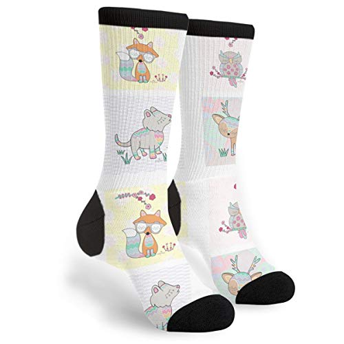 Fashion Travel Breathable Socks Nursery Fox Owl Wolf Deer Men & Women Running Casual -