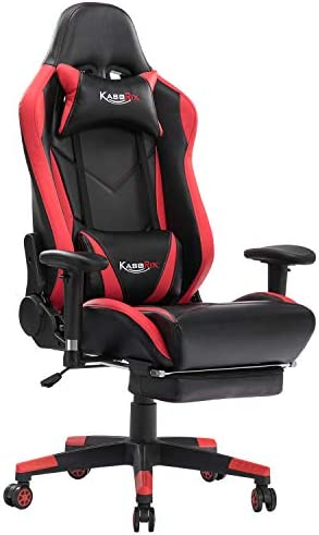 Kcream Gaming Chair Racing Style Computer Chair With Footrest Pu Leather Adjustable Gamer Chair With Headrest And Lumbar Support 8508 Red Kitchen Dining