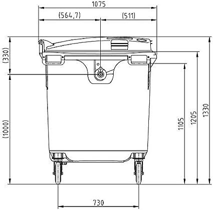 M/ülltonne MGB 1100 Liter Blau 4-Rad-Beh/älter mit Flachdeckel