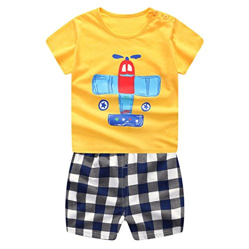 Hot Sale!! Toddler Infant Baby Boys Girls Cool Cartoon Funny Animals Cotton Tops Shirt+Pants 2Pcs Outfits Set (Airplane, 12 Months) -