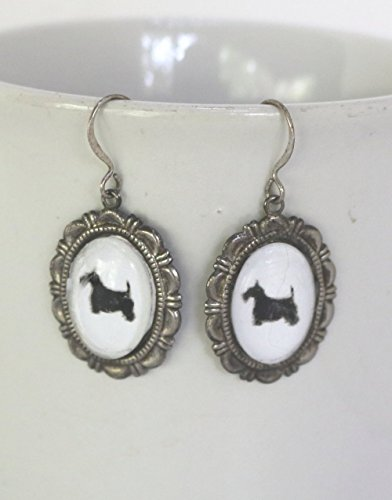 Scottish Terrier Scottie Dog Earrings Silver Cabochon Cameo Silhouette Jewelry
