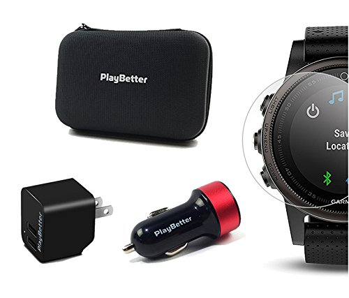 Garmin fenix 5S (Silver with Black Band) GIFT BOX Bundle | Includes HD Screen Protector, PlayBetter USB Car/Wall Adapter & Hard Case | Multi-Sport GPS Fitness Watch, Wrist-HR | Black Gift Box by PlayBetter (Image #6)