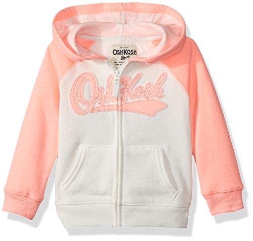 - OshKosh B'Gosh Girls' Toddler Full Zip Logo Hoodie, Peach Ivory, 3T
