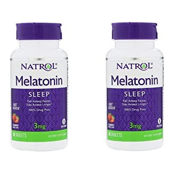 Natrol Melatonin 3mg Fast Dissolve Tablets, Strawberry, 90-Count (Pack of 2)