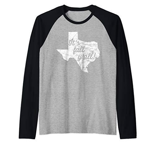 Texas It's Fall Y'all State Outline Football Season Autumn Raglan Baseball