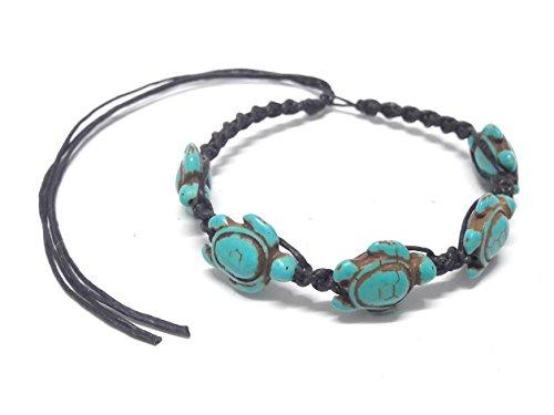 ea Turtle in Turquoise - Hawaiian Sea Turtle Hemp Bracelet - Adjustable Cord (Ecolution Hemp Fabric)