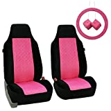 FH Group FB150PINKBLACK102 Pink/Black Heart Patterned Velour Seat Cover (Accessory Set W. Steering Wheel Cover and Pair Of Fuzzy Dice)