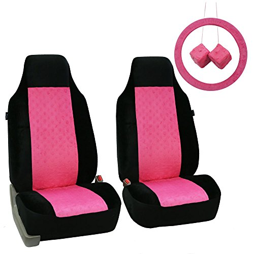 FH Group FB150PINKBLACK102 Pink/Black Heart Patterned Velour Seat Cover (Accessory Set W. Steering Wheel Cover and Pair Of Fuzzy (Hearts Bucket Seat Cover)