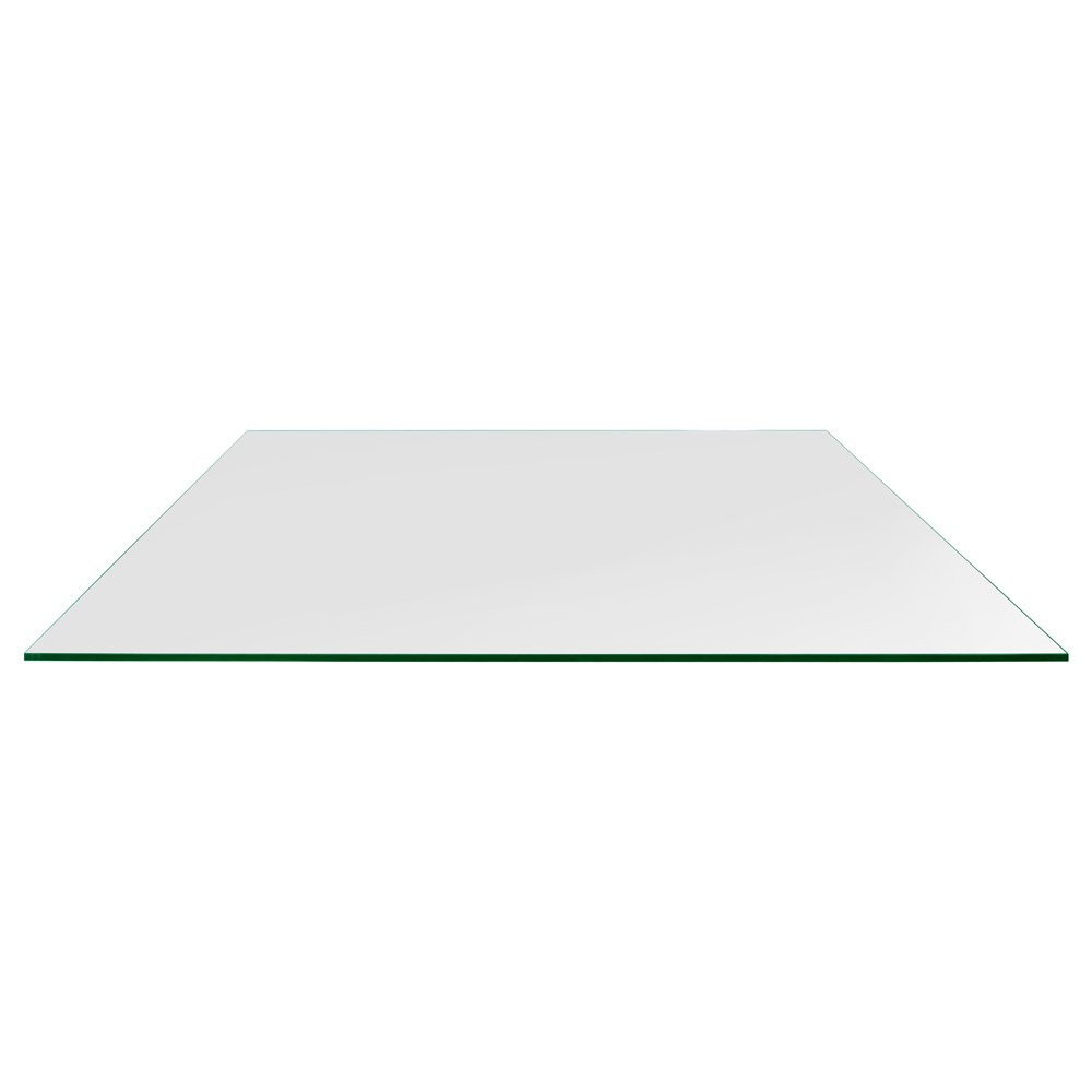 TroySys Tempered Glass Table Top, 1 4 Thick, Flat Polished Edge, Eased Corners, Rectangle