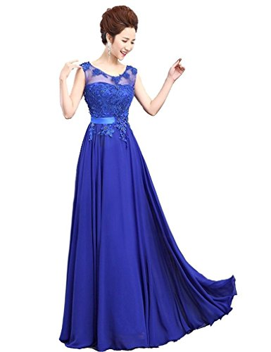 Kleid Abendkleid Damen Applikationen Edaier Chiffon Prom langen Perlen Lace Blau TOcyfya6