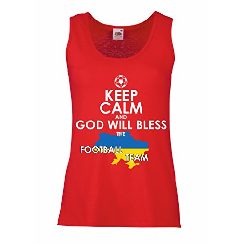 fan products of lepni.me N4470P Female Tank Top Keep Calm, God Will Bless The Ukrainian Football Team (Large Red Multicolor)