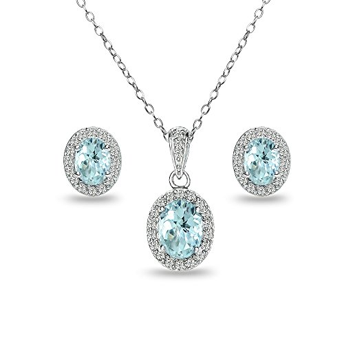 Sterling Silver Blue Topaz and White Topaz Oval Halo Necklace and Stud Earrings - Topaz Pendant Bracelet Blue
