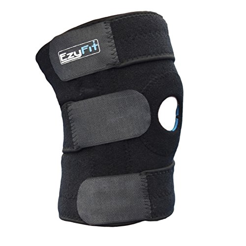 EzyFit Knee Brace Support Dual Stabilizers & Open Patella - Adjustable Breathable Neoprene for ACL Meniscus Tear Injury Recovery Comfort Fit-Black/Blue,Extra Large - 16