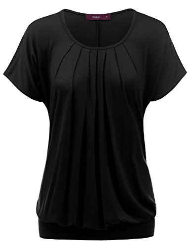 Doublju Basic Short Sleeve Round Neck Drape Loose Fit Top for Women with Plus Size