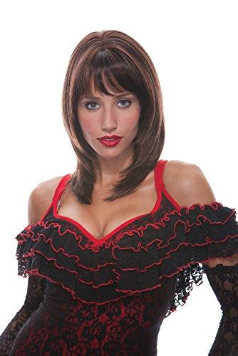 [UHC Adults Jasmine French Kiss Wig w/ Long Bangs Halloween Costume Accessory (Auburn)] (French Kiss Costume)