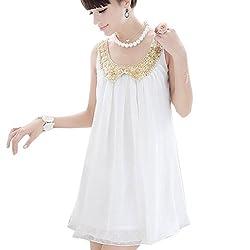 Zeagoo Women's Summer Maternity Sequins Doll Collar Sleeveless Chiffon Dress