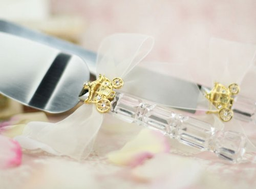 (Cinderella Fairy Tale Coach Wedding Cake Server Set (Silver/Gold): Bow Color: WHITE - Coach Color: SILVER)