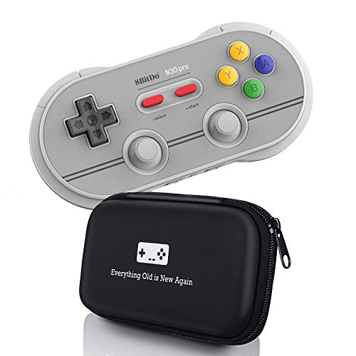 Geek Theory 8Bitdo N30 Pro 2 Controller Bundle (6 Edition) - Includes Bonus Carrying Case - Updated 2018 Version - Android/Mac/PC/Switch/NES and SNES Classic
