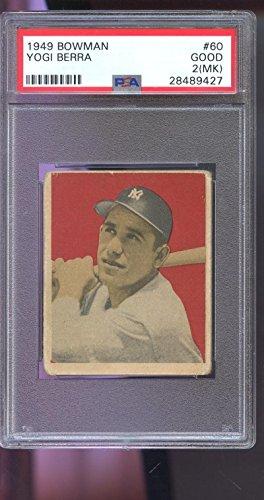 Yogi Berra Card (1949 Bowman #60 Yogi Berra ROOKIE RC Yankee GOOD PSA 2 (MK) Graded Baseball Card)