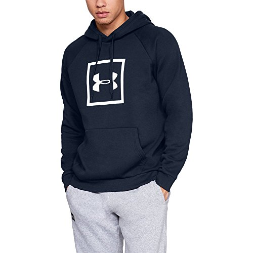 Under Armour Men's Rival Fleece Logo Hoodie, Academy (408)/White, X-Large ()