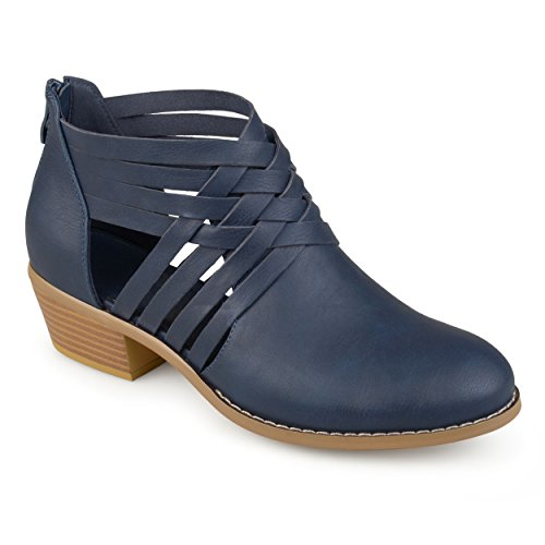Journee Collection Womens Faux Leather Criss Cross Booties Blue WXwC3