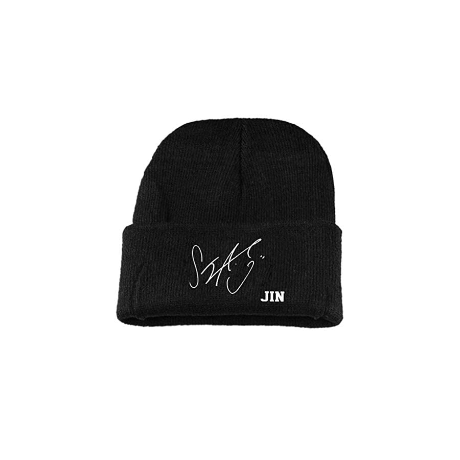 Jesse Unisex Winter Printed Ribbed Knitted Hat, Kpop BTS Signature Hip Hop Cap Ski Cap