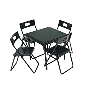 Amazoncom Dollhouse Miniature 5 Pc Black Metal Folding Table