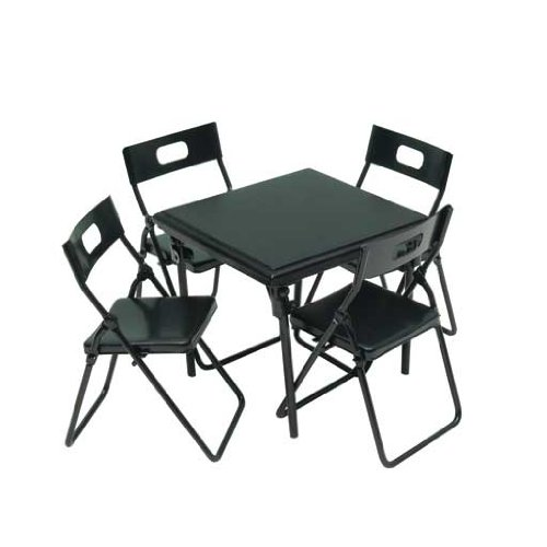 Dollhouse Miniature 5-Pc. Black Metal Folding Table & Chairs Set