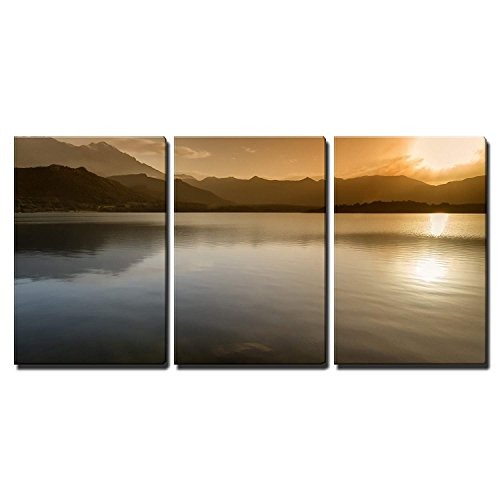 wall26 - 3 Piece Canvas Wall Art - Sunset Over Lac De Codole at Reginu in The Balagne Region of Corsica - Modern Home Decor Stretched and Framed Ready to ()