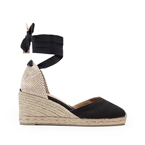 Castaner Women's Carina Canvas Wedge Espadrille Shoes 6CM Black/37