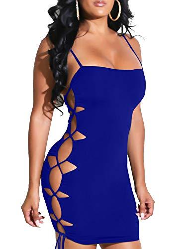 TOB Women's Sexy Bodycon Spaghetti Strap Lace Up Tank Mini Club Dress Royal Blue
