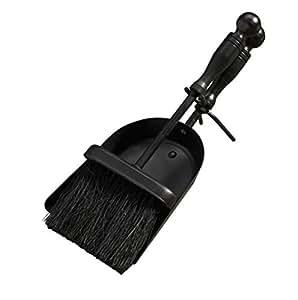 Bakaware - Escobilla y recogedor para cenizas de chimenea, color negro