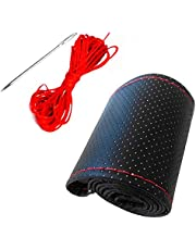 Car Steering Wheel Cover, Black DIY PU Leather Finish, Hand Sewing with Needles and Red Thread