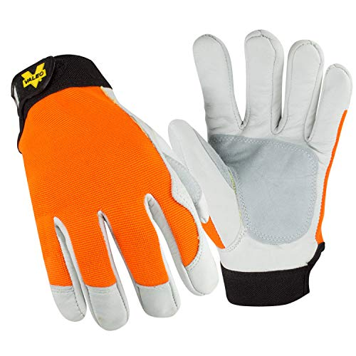 (Valeo Industrial V258 Cut Resistant, Kevlar Lined, Leather Work Gloves Rated ANSI Cut 3 for Men and Women. Construction, General Purpose, Driver, Rigger, and Safety Gloves, VI9507, Orange, 2XL)