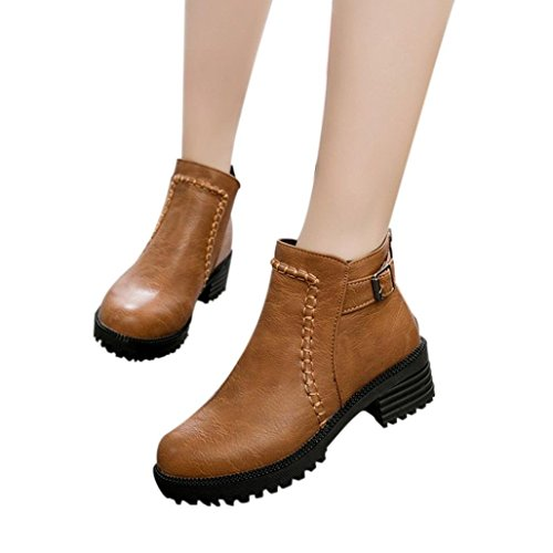 High Bare Women's Shoes KIMODO Student Short Martin Heeled Boots Thick Brown Boots Boots 6tXxXpqnYw