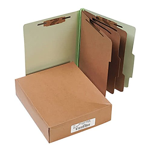 15048 8 1/2'' x 11'' Leaf Green 8-Section Presstex Classification Folder with Prong Fasteners and 2/5 Cut Tab, Letter - 10/Box
