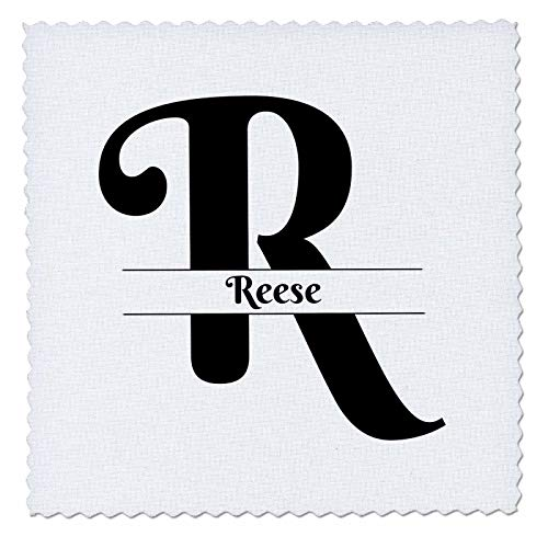 3dRose BrooklynMeme Monograms - Bold Script Monogram R - Reese - 12x12 inch Quilt Square - Reese Quilt