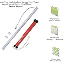 Motorized Shades and Blinds for Windows with Remote Control Powered by AA 12V DC Volt Reloadable Tube / Wand Tubular Motor Kit