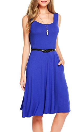 sandals SimpleFun Women's Summer Sleeveless Swing Loose Dress with Pockets (M, Blue)