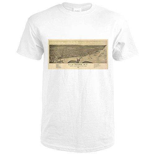 1885 Map (Tacoma, WA Panoramic Map - 1885 (Premium White T-Shirt Medium))