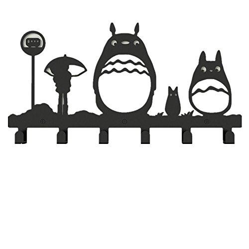 YOURNELO Metal Cute Totoro Wall Mounted Coat Rack 6 Hooks