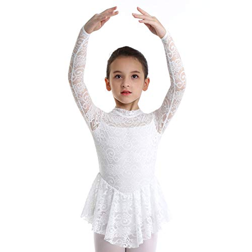 inhzoy Big Girls' Kids Floral Lace Long Sleeves Mock Neck Figure Skating Dress Gymnastics Tutu Skirted Leotard Performance Costumes White 9-10 (Figure Skating Best Performances)