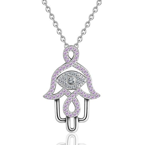INFUSEU 925 Sterling Silver Hamsa Hand & Evil Eye Charm Pendant Necklace CZ Jewelry for Women Girl (Violet Cubic Zirconia) (Hamsa Charm Necklace)