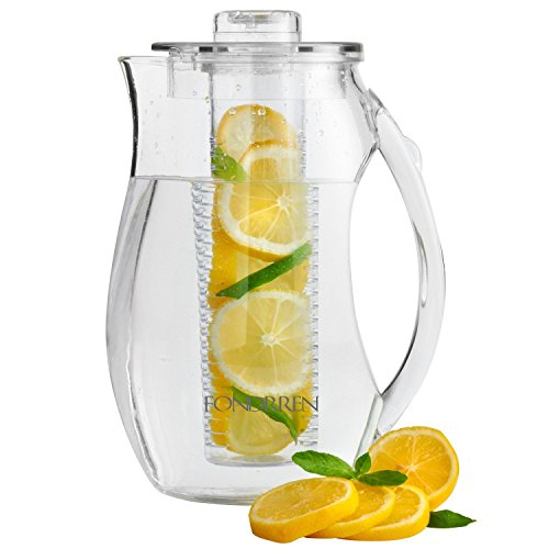 Fondrren-Fruit-Infuser-water-Pitcher-With-Free-Ice-Core-Best-for-Making-Flavored-Fruit-Infusion-Water-Tea-and-More-Made-With-Clear-Acrylic-BPA-Free-Plastic-Large-29-Quart-275-L