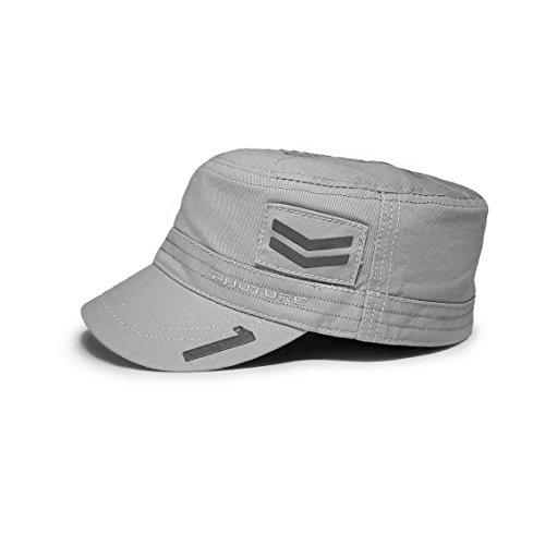 PHUTURE Mach 1 Hero 100% Cotton Army Cap Cadet Hat Military Flat Top Cap - Lunar Grey ()