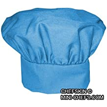 CHEFSKIN CHEF MUSHROOM HAT ADULTS < BABY BLUE > ADJUSTABLE VELCRO, NICE TWILL FABRIC TOP QUALITY HAT, DELIVERED IN 2-3 DAYS