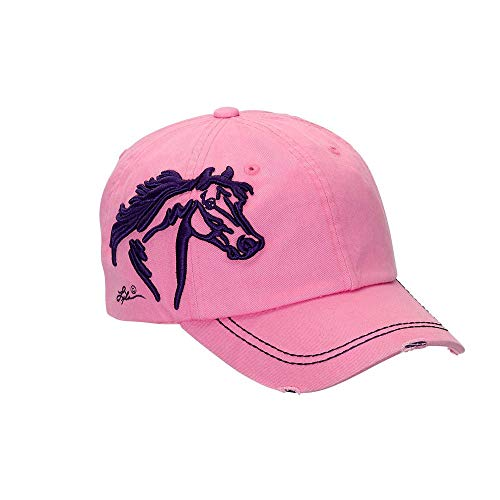 Equi-Ternatives, Inc Distressed Baseball Cap with 3D Embroidered Horse Head - Pink One Size